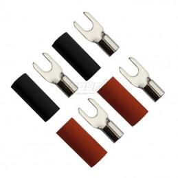 4 Connect 4 cosses fourche cuivre M4 (6.0mm2, 2x noir et 2x rouge)